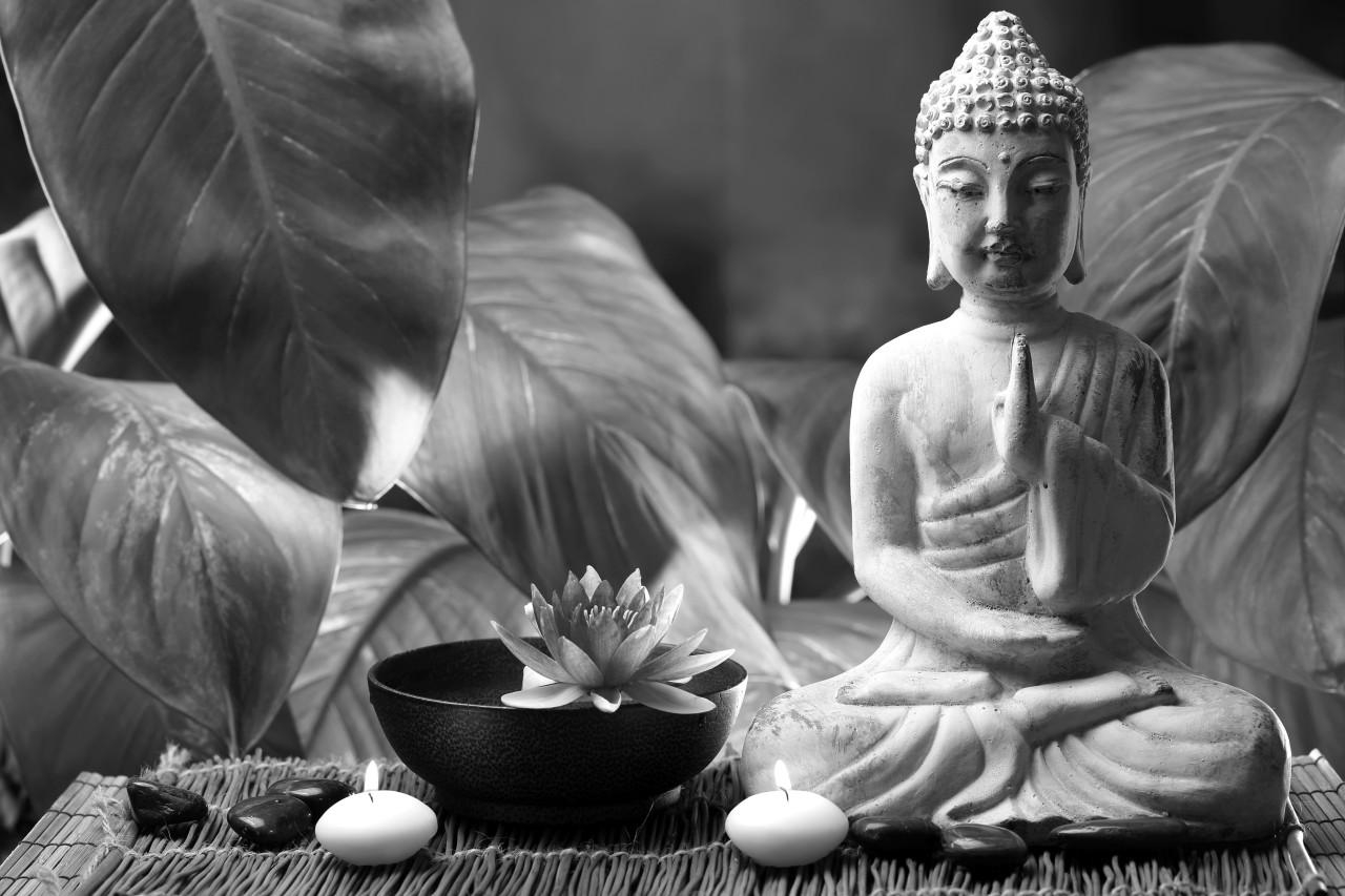 Buddah Figur Schwarz & Weiß