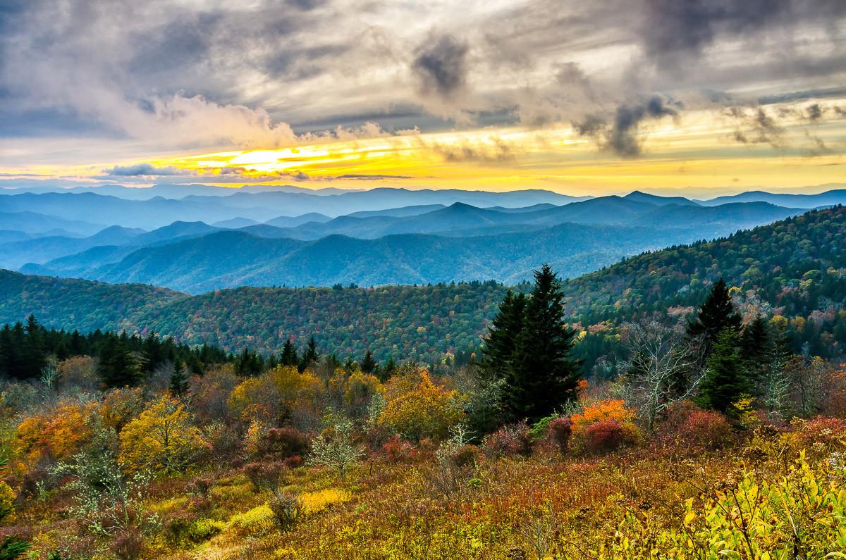 Herbst Sonnenuntergang Cowee Mountain
