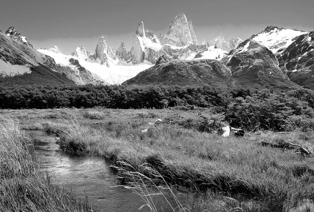 Gebirge, Berge, Schnee, Frühling Schwarz & Weiß