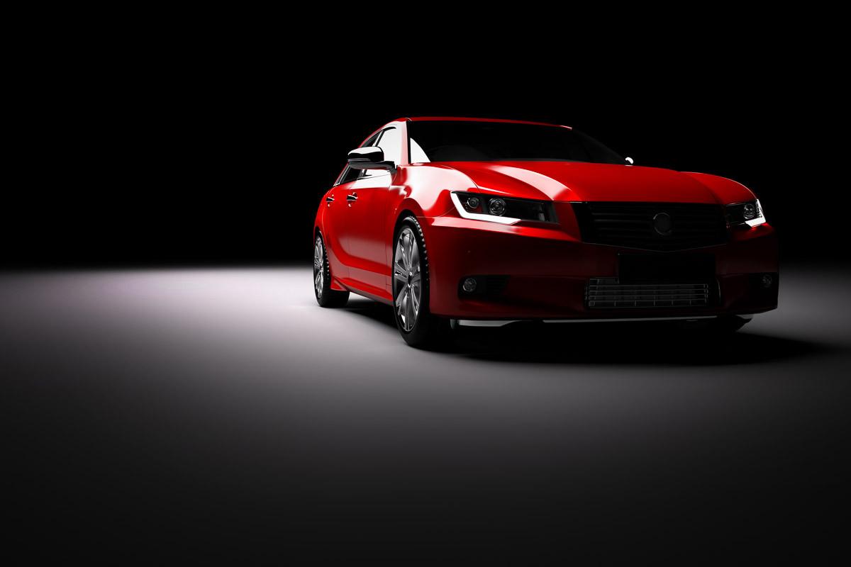 Rotes Auto im Rampenlicht