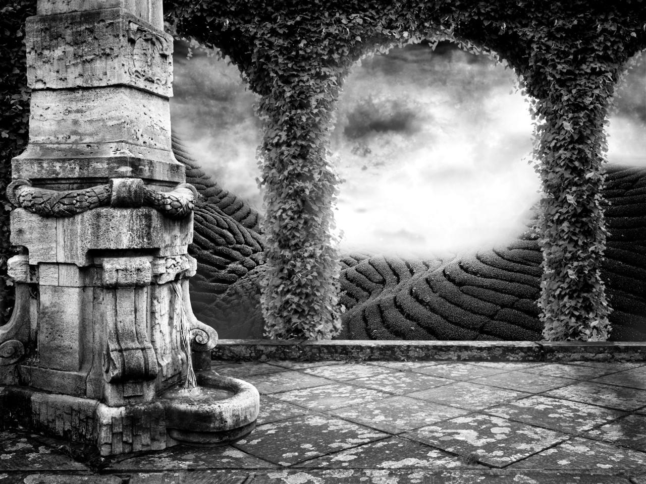 Tempel Schwarz & Weiß