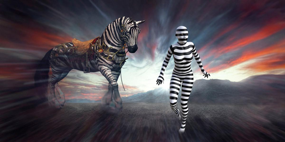 Surreale Zebrafrau