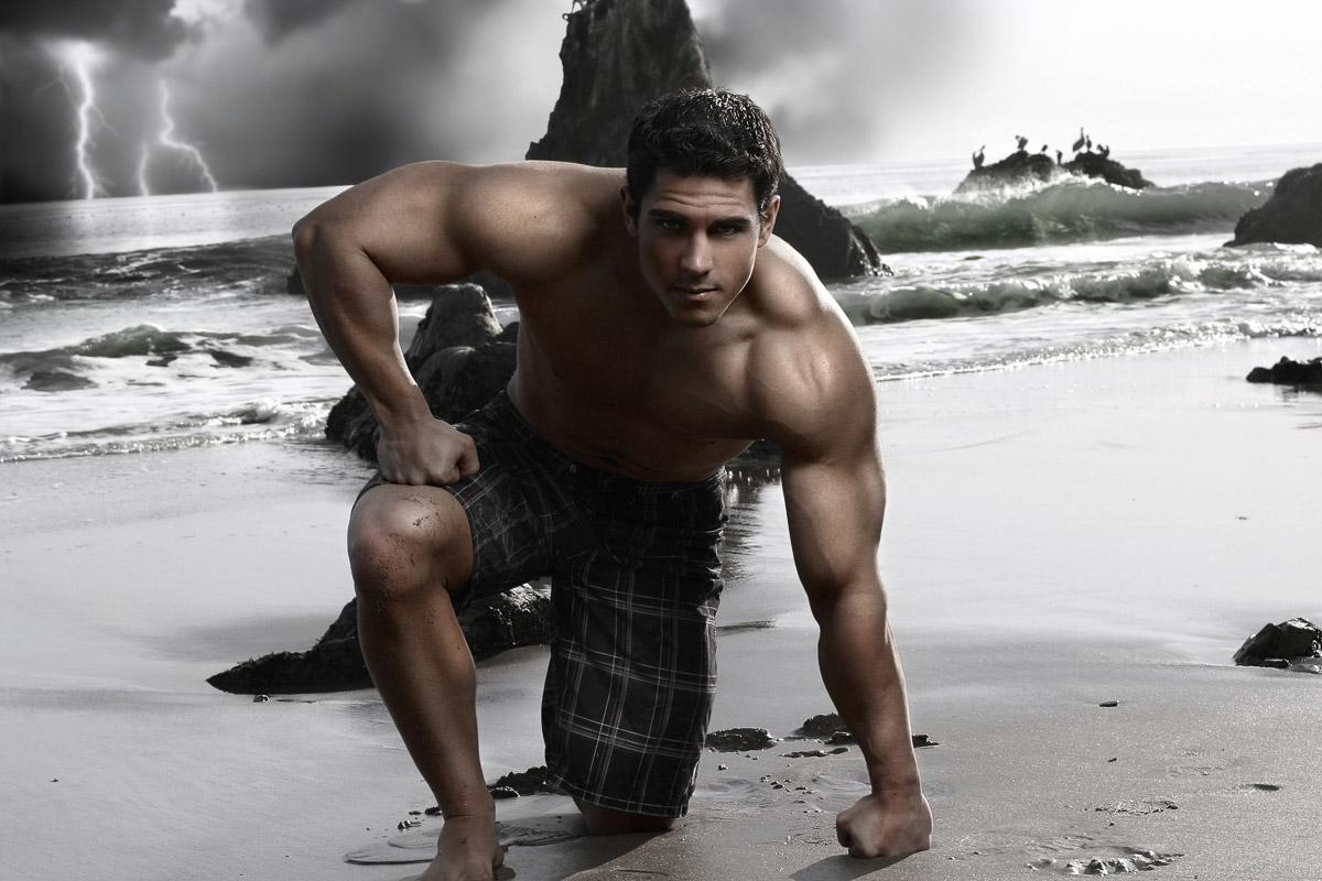Mann an Strand