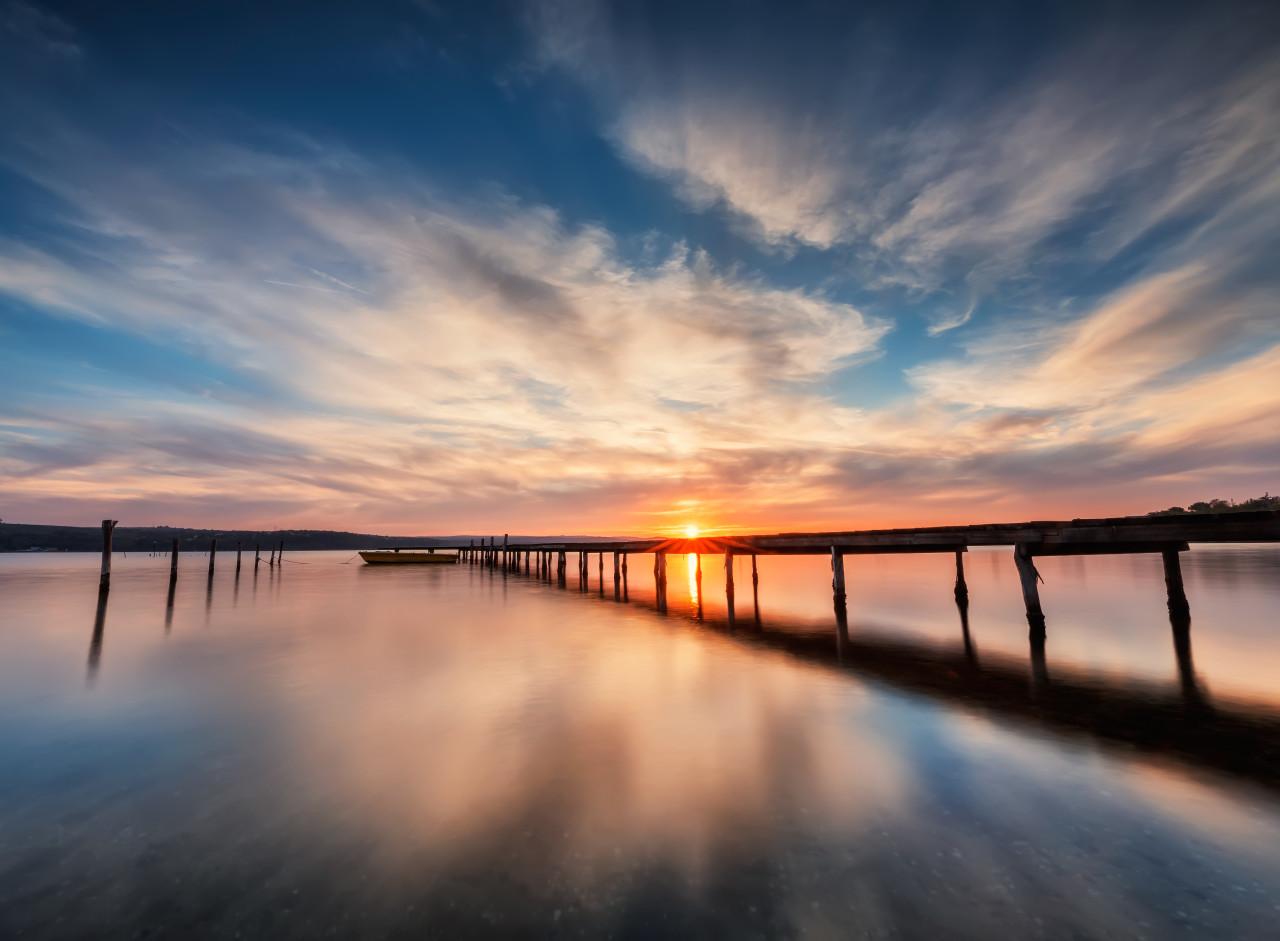 Lake Sunset Wooden Pier