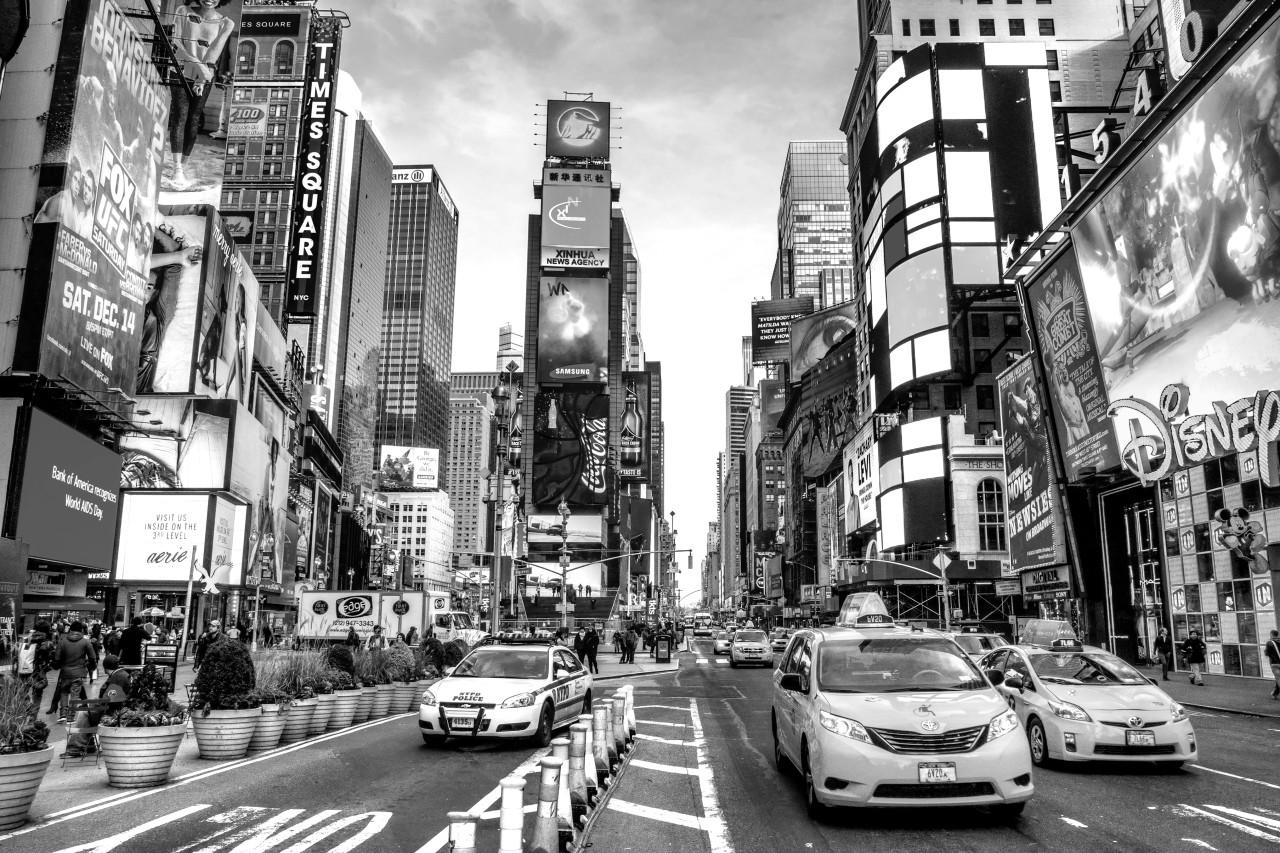 New York Time square Schwarz & Weiß