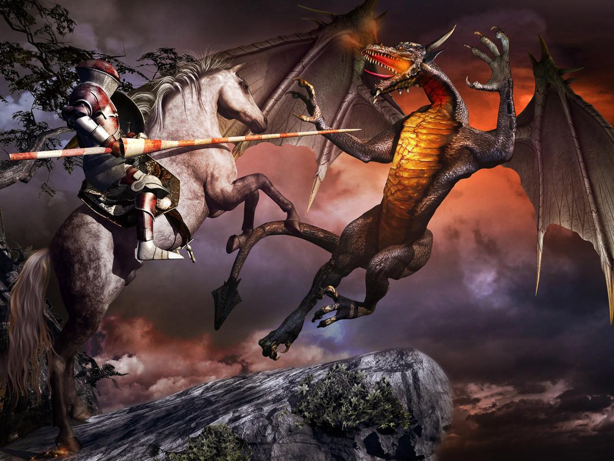 Ritter- und Drachenkampf