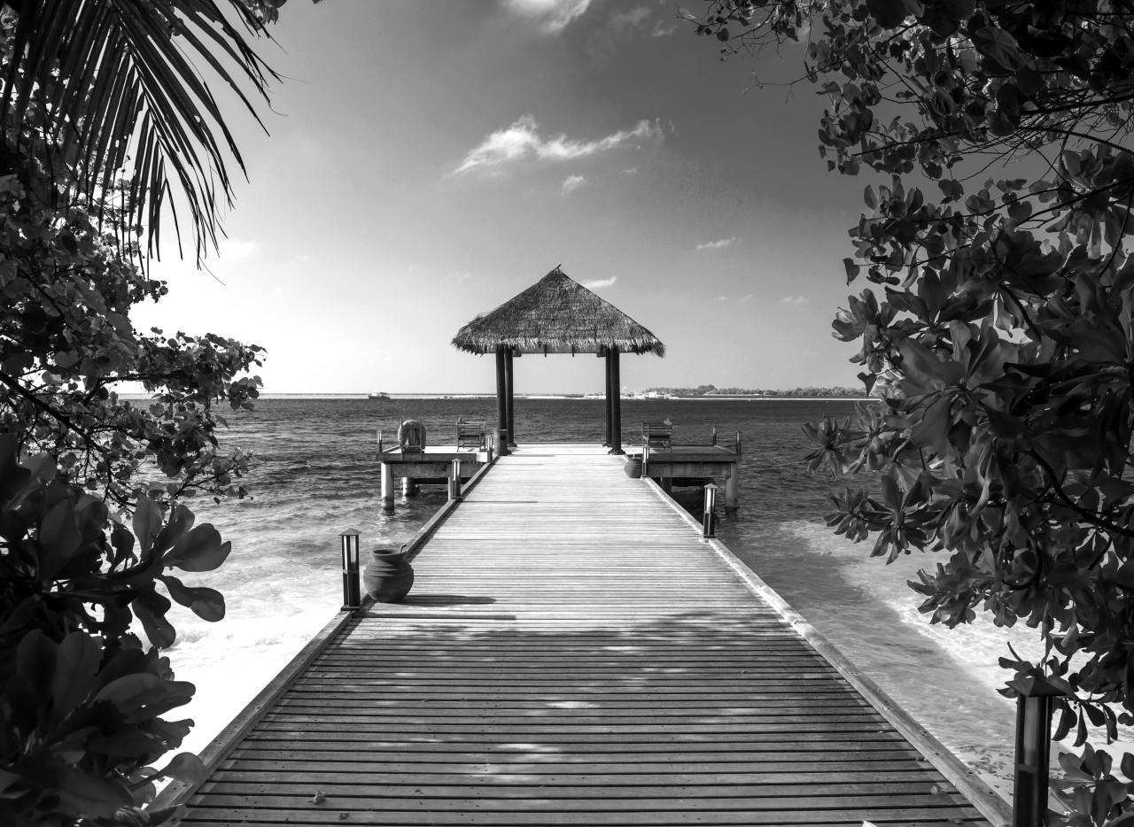 Steg am Strand Schwarz & Weiß