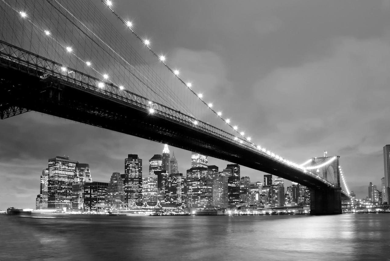 New York Brücke Schwarz & Weiß