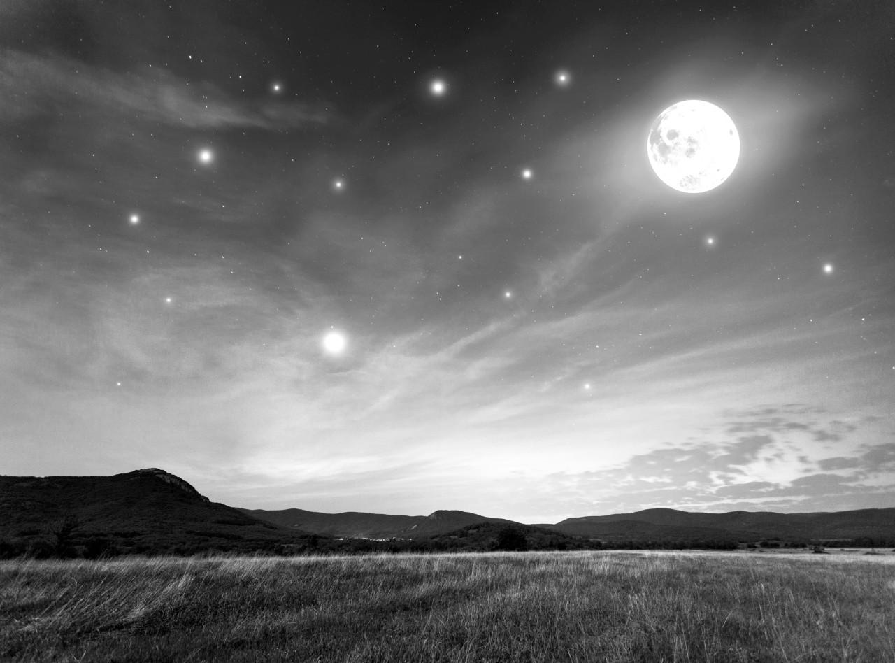 Nachthimmel Schwarz & Weiß