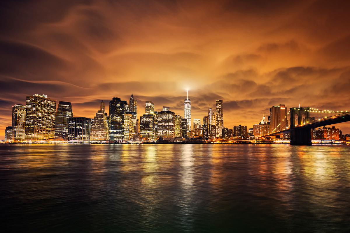 Manhattan bei Sonnenuntergang