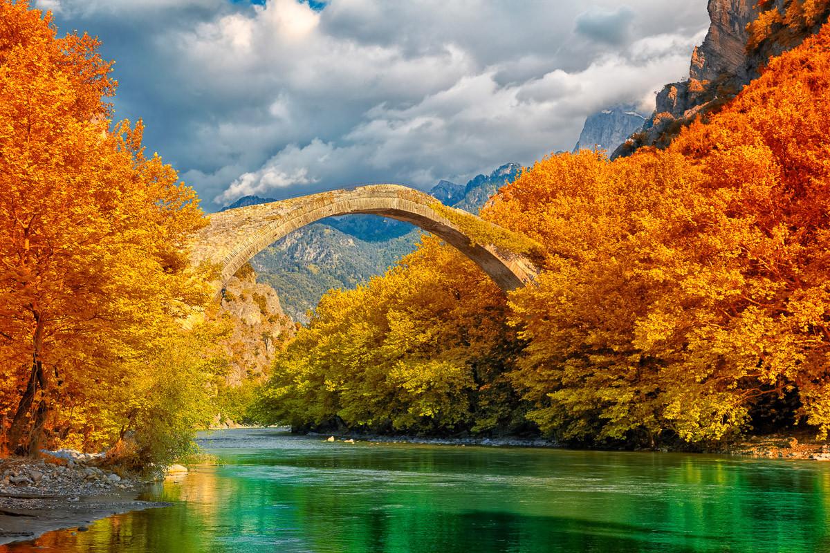 Konitsa Brücke Aoos Fluss
