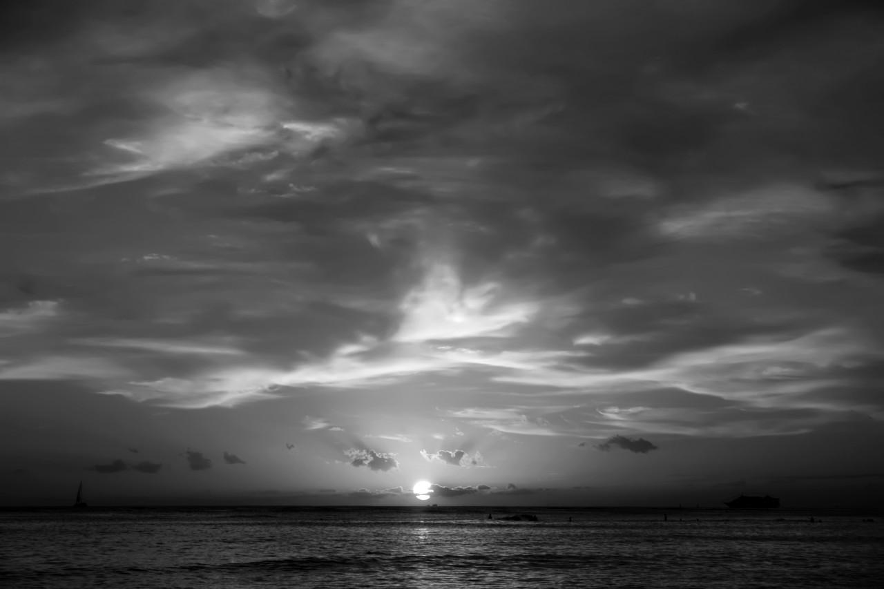Sonnenuntergang Schwarz & Weiß