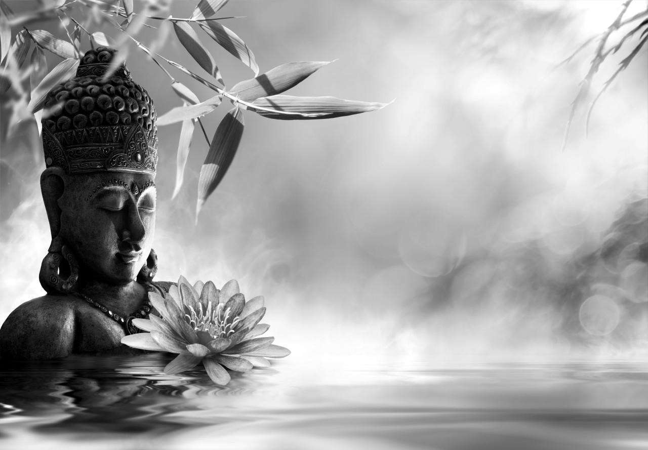 Buddah Figur mit Blume Schwarz & Weiß