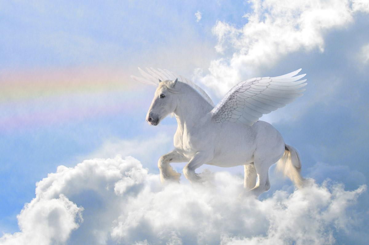 Pegasus in den Wolken