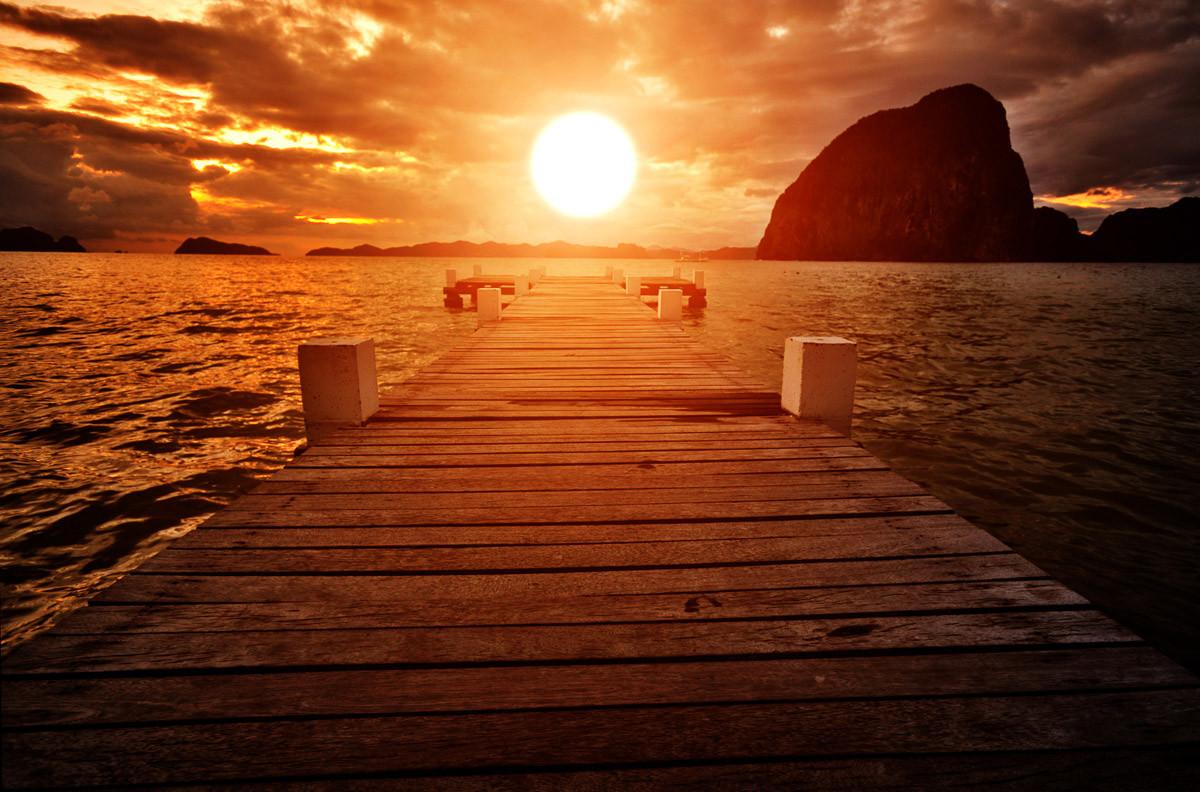 Steg Sonnenuntergang