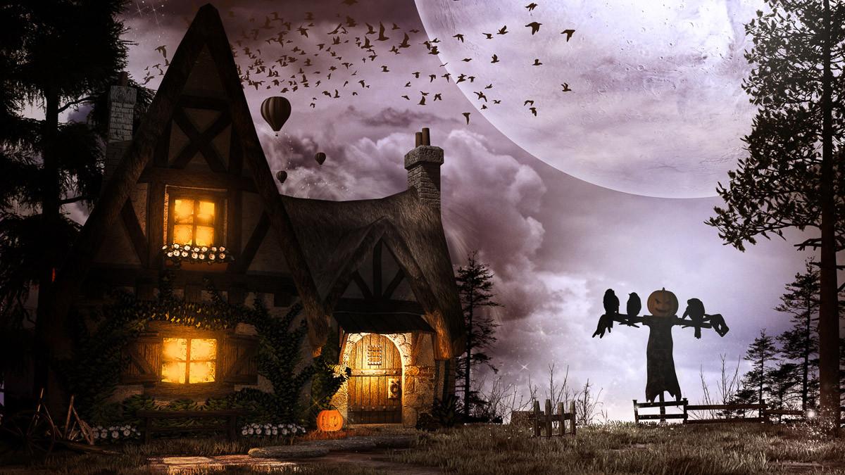 Alte Hütte und Vogelscheuche