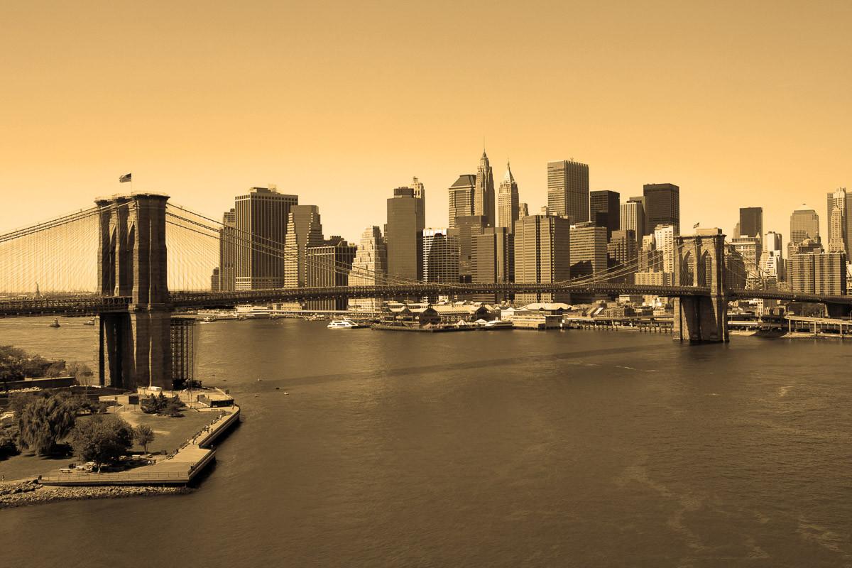 Brooklyn-Brücke in Sepia