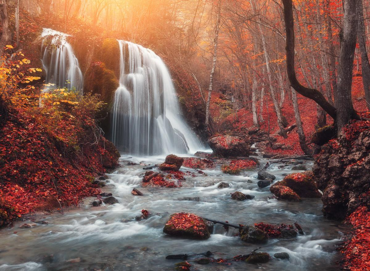 Berg Sonnenuntergang Wasserfall