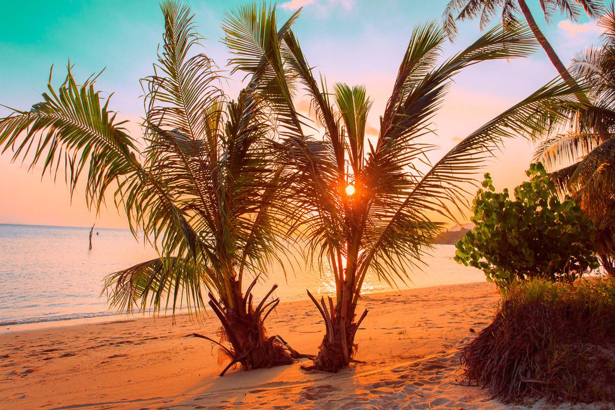 Tropischer Sonnenuntergangsstrand