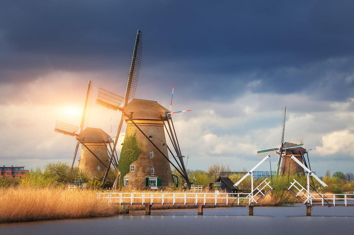 Windmühlen Kinderdijk Sonnenuntergang