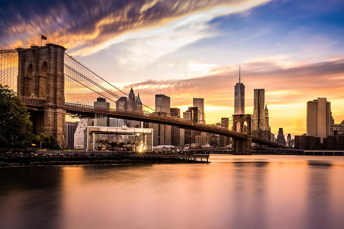 Brücke Brooklyn bei Sonnenuntergang