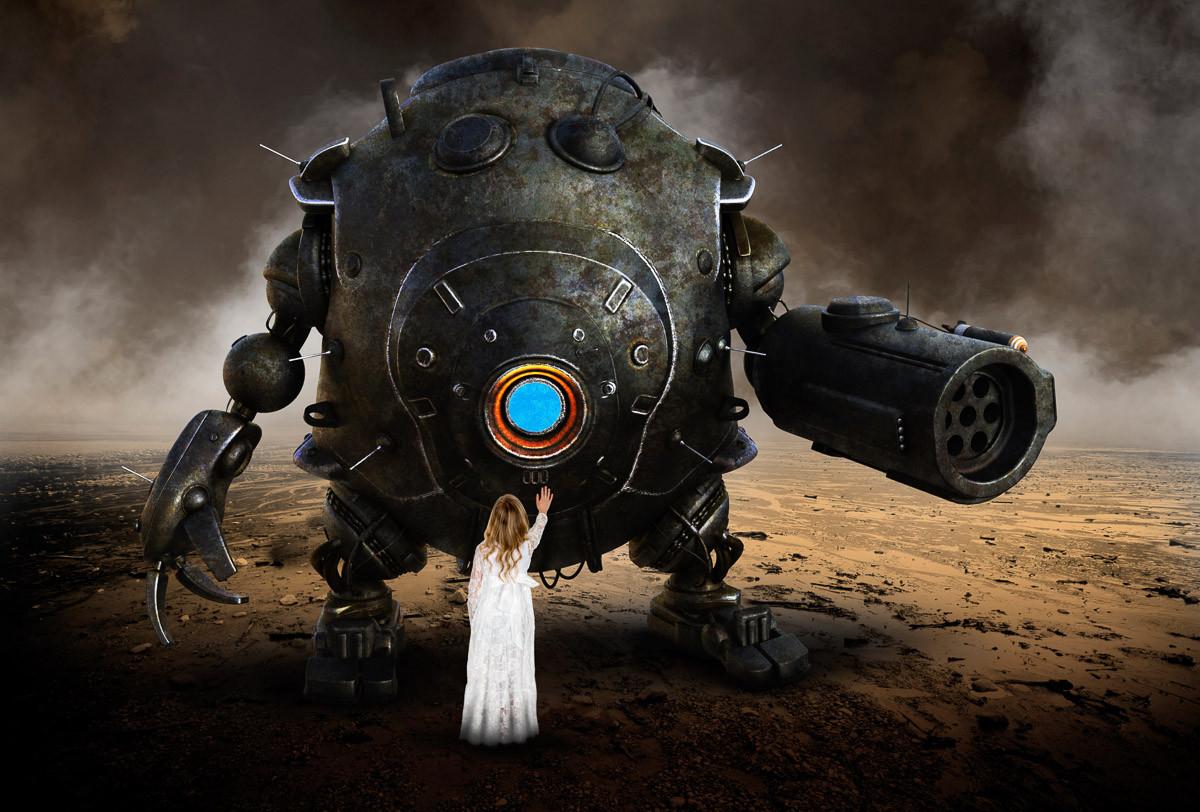 Mädchen grüßt Roboterdroide