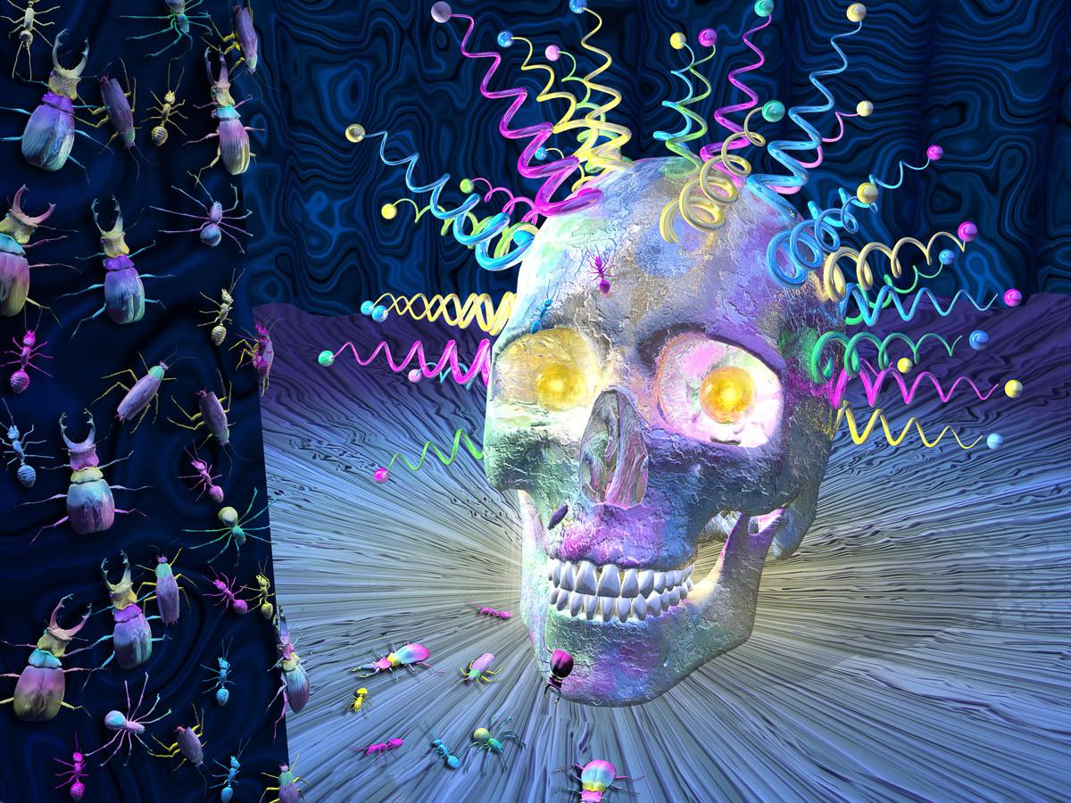 Psychedelischer Schädel