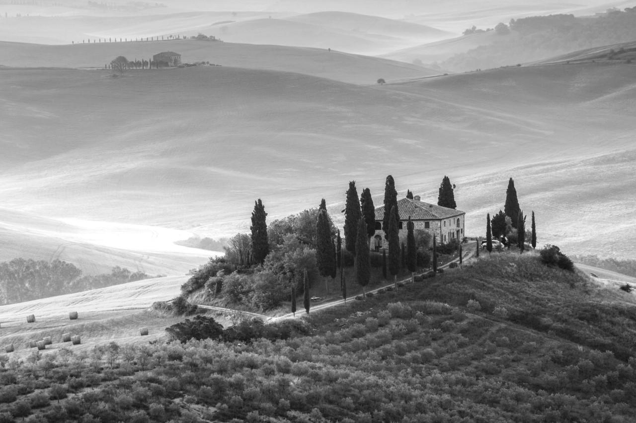 Italien Landschaft Schwarz & Weiß