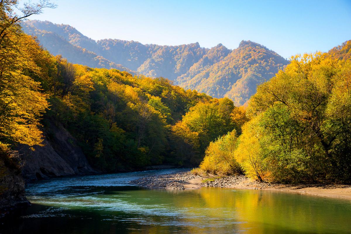 Herbst Gebirgswald Fluss